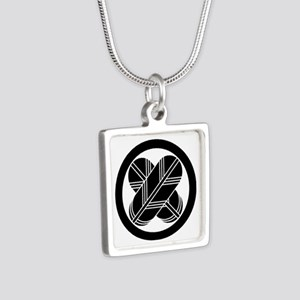Intersecting hawk feathers Silver Square Necklace